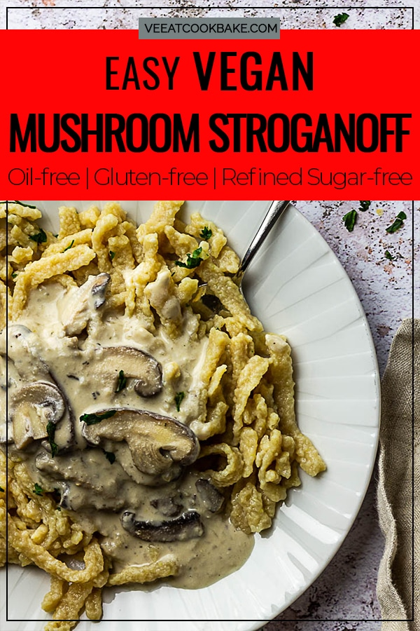 Vegan mushroom stroganoff is not just a perfect recipe for beginners, but is also prepared fast and versatile to serve. This mushroom ragout pairs well with everything from homemade vegan spaetzle, to bread dumplings, and rice or other noodles. This hearty vegetarian stroganoff is made with a mushroom mixture of chanterelles, porcini mushrooms and others and a very creamy cream alternative made from cashews, as well as the right combination of spices.