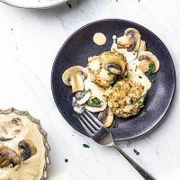 Vegan Bread Dumplings with Cream Mushrooms