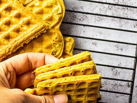 Vegan Whole Wheat Waffles on a rack. These are made without oil or butter.