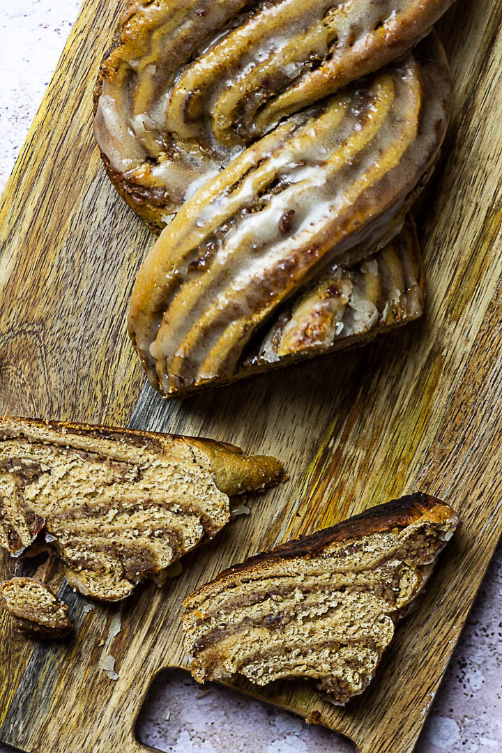 Vegan Nut Babka is a german braided nut bread, a whole wheat yeast dough filled with a sugar-free hazelnut filling. (wfpb)