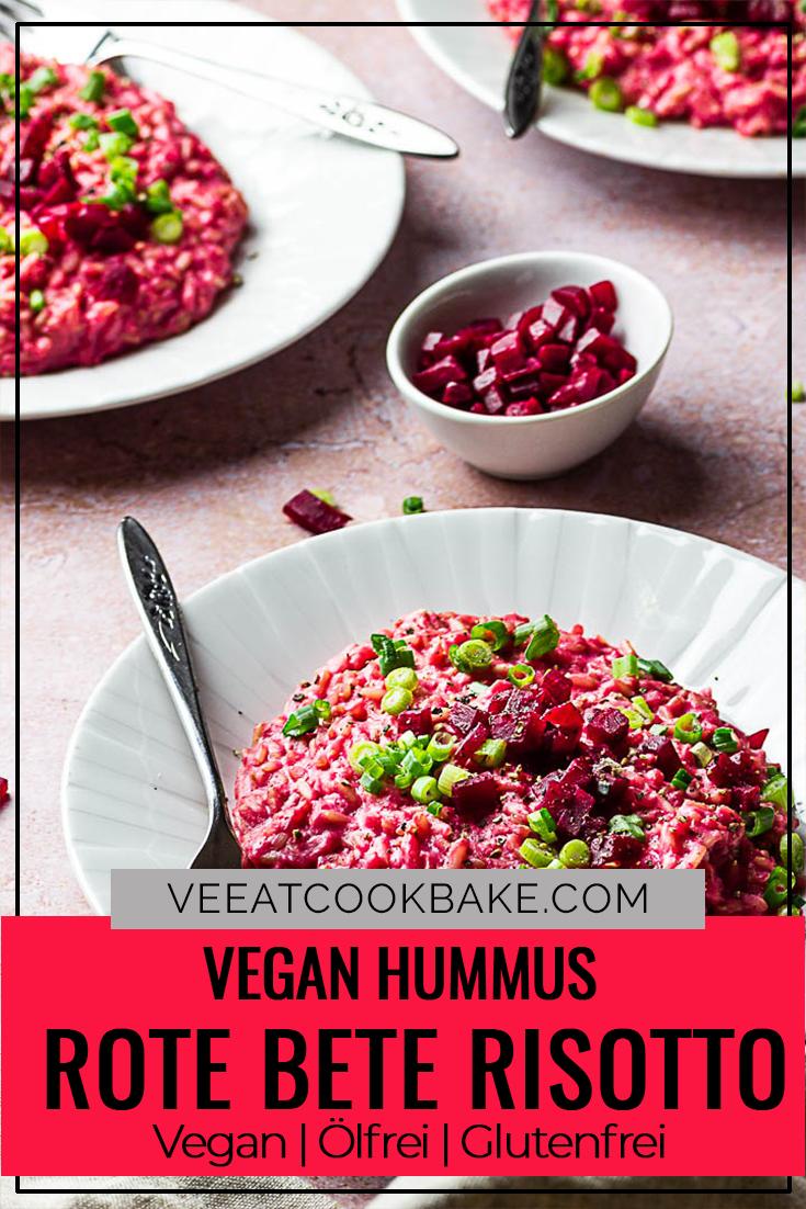Einfaches und Schnelles veganes Rote Bete Rosotto mit Hummus