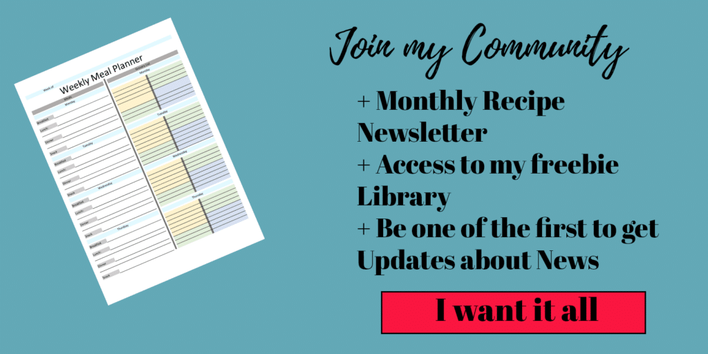 Button to Join my Recipe Newsletter Mailinglist