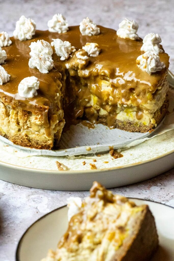 Recipe for a vegan wfpb apple caramel cheesecake