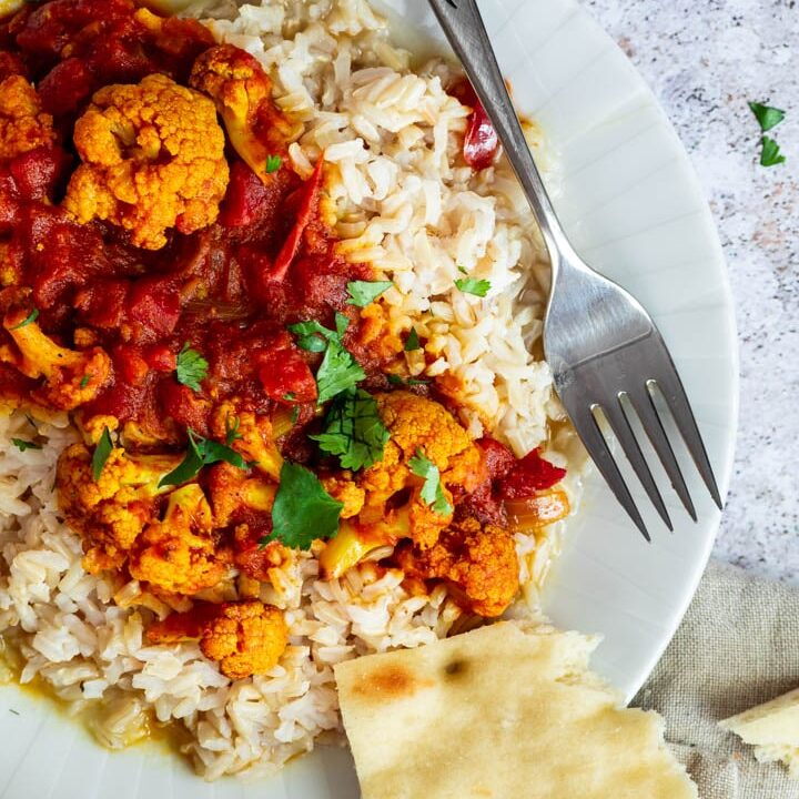Vegan Wfpb Tikka Masala with Cauliflower and authentic spices. (vegetarian, gluten-free)
