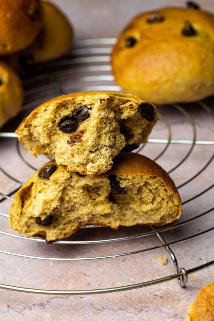 Fluffy soft vegan whole wheat chocolate brioche buns. (wfpb)