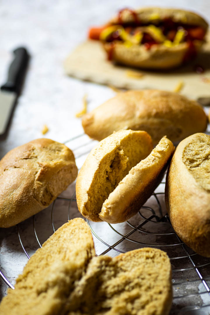 Homemade vegan whole wheat hot dog buns. Perfect for sandwiches, hot dogs or burgers. 100% whole wheat.