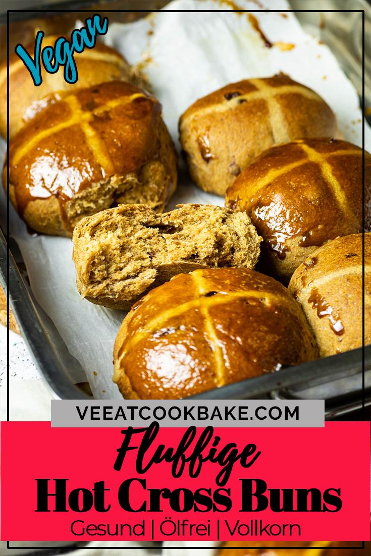 Grafik von hot cross buns (Osterbrötchen) mit Text für Pinterest
