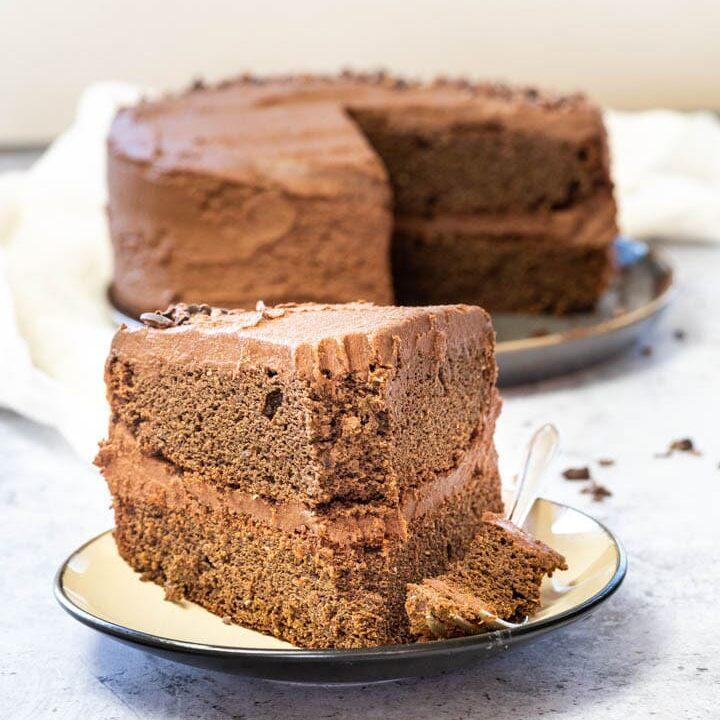 The Best Easy Chocolate Layer Cake (vegan, wfpb, sugar-free)