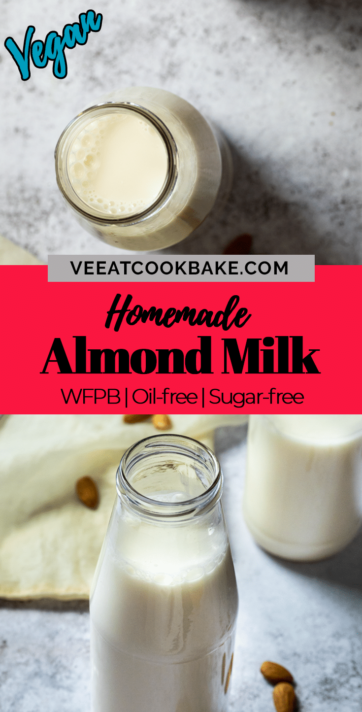 Graphic with two photos of homemade almond milk and a text layover in the middle