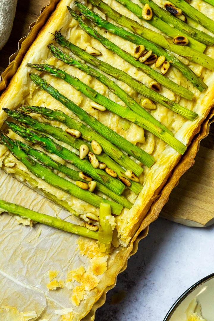 Close up of the vegan Asparagus Tart