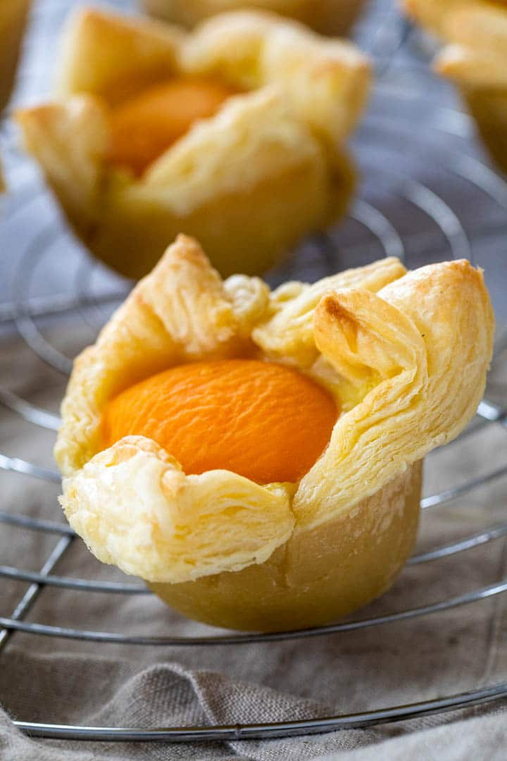 Close Up of one vegan custard apricot cup