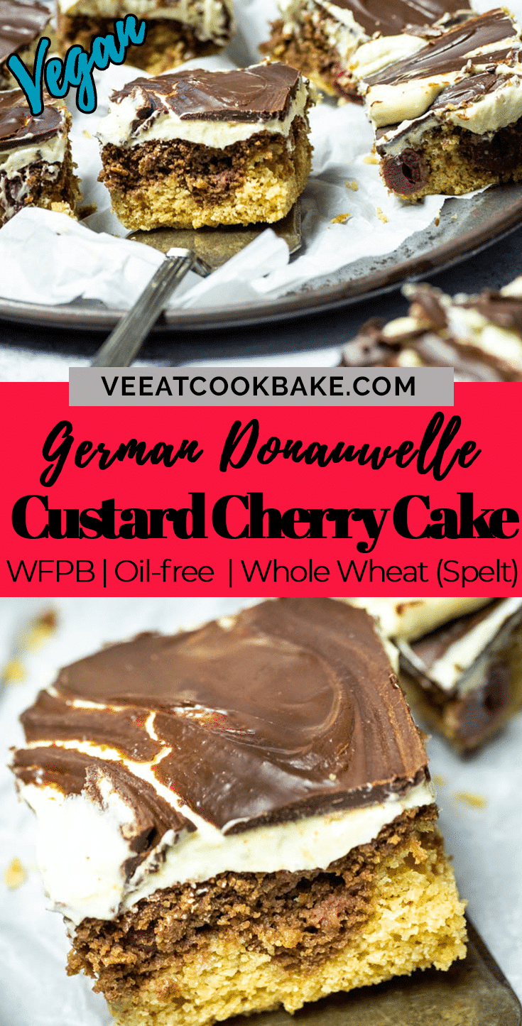 Graphic of the vegan custard cherry chocolate cake with a text layover in the middle