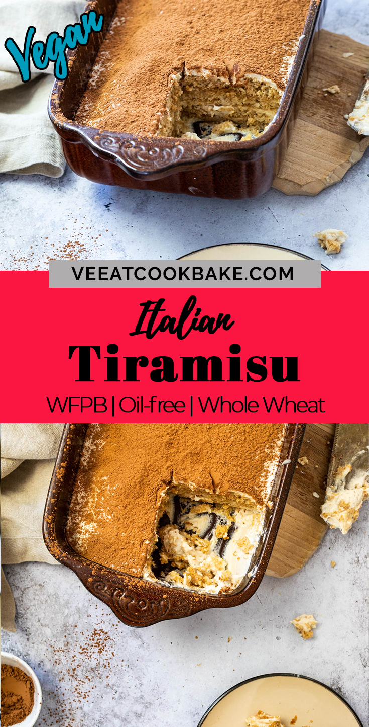 Graphic of two photos of vegan tiramisu with a text layover in the middle