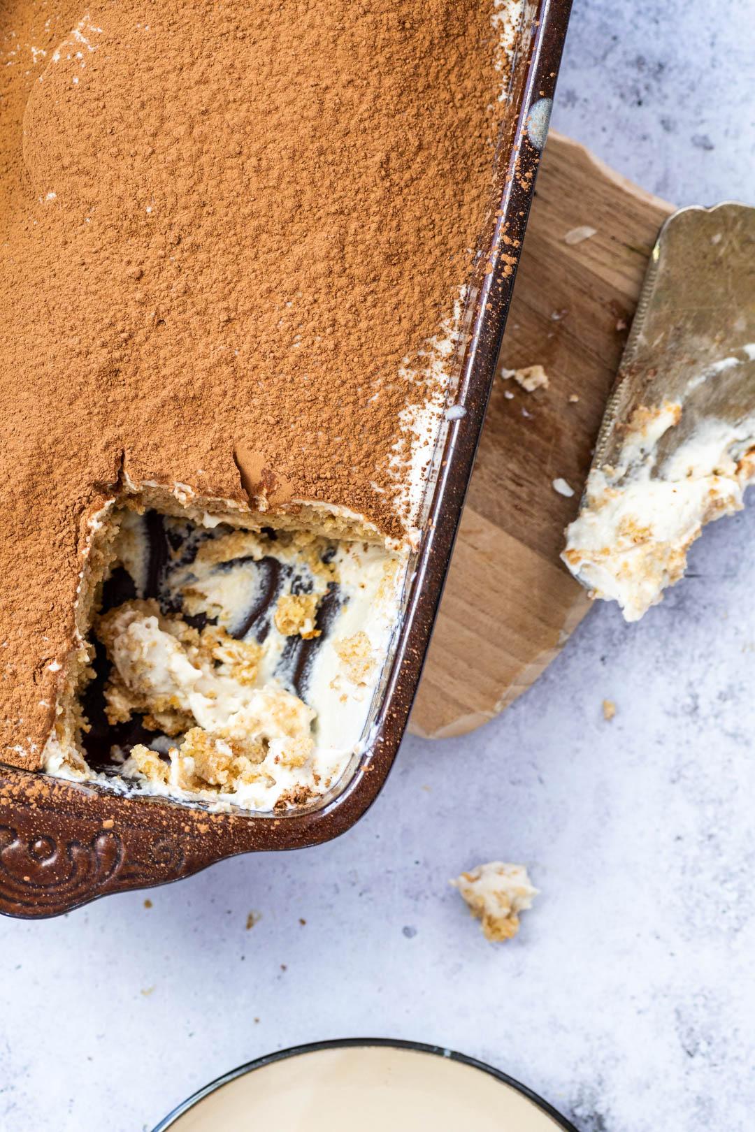 Close up Tiramisu in a Pan