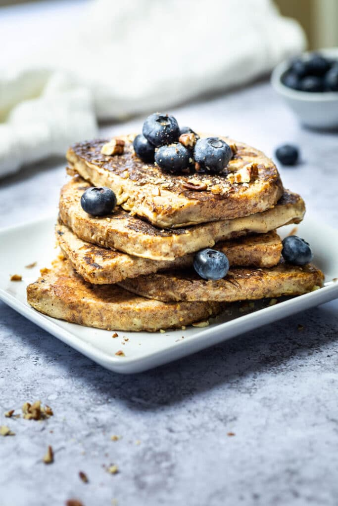 Stack of vegan French Toast with blueberries