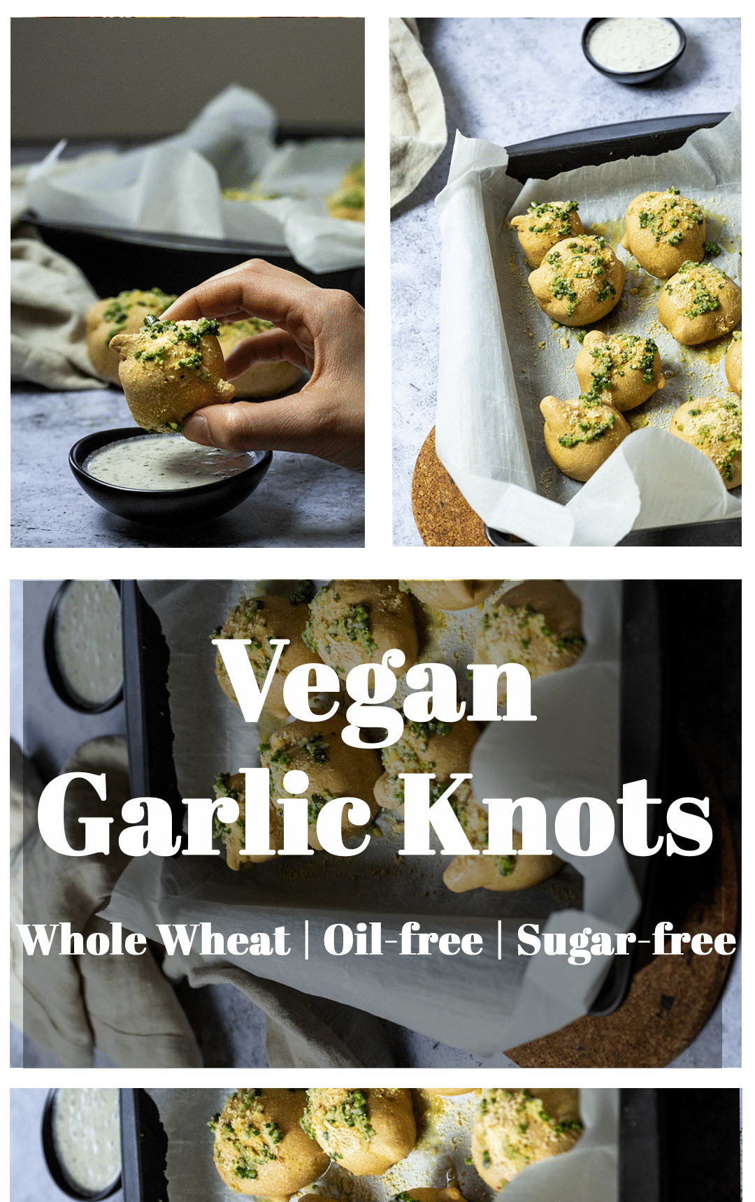 Graphic of vegan garlic knots with text layover