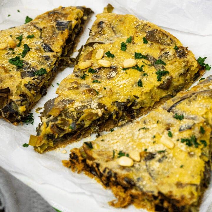 3 slices of vegan leek quiche