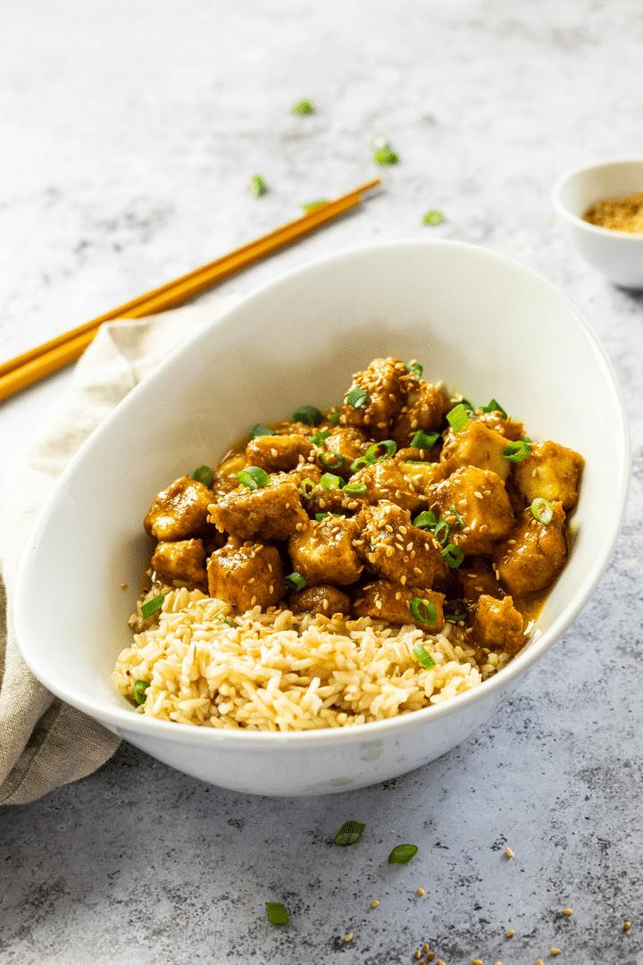 Vegan Orange Tofu with Brown Rice