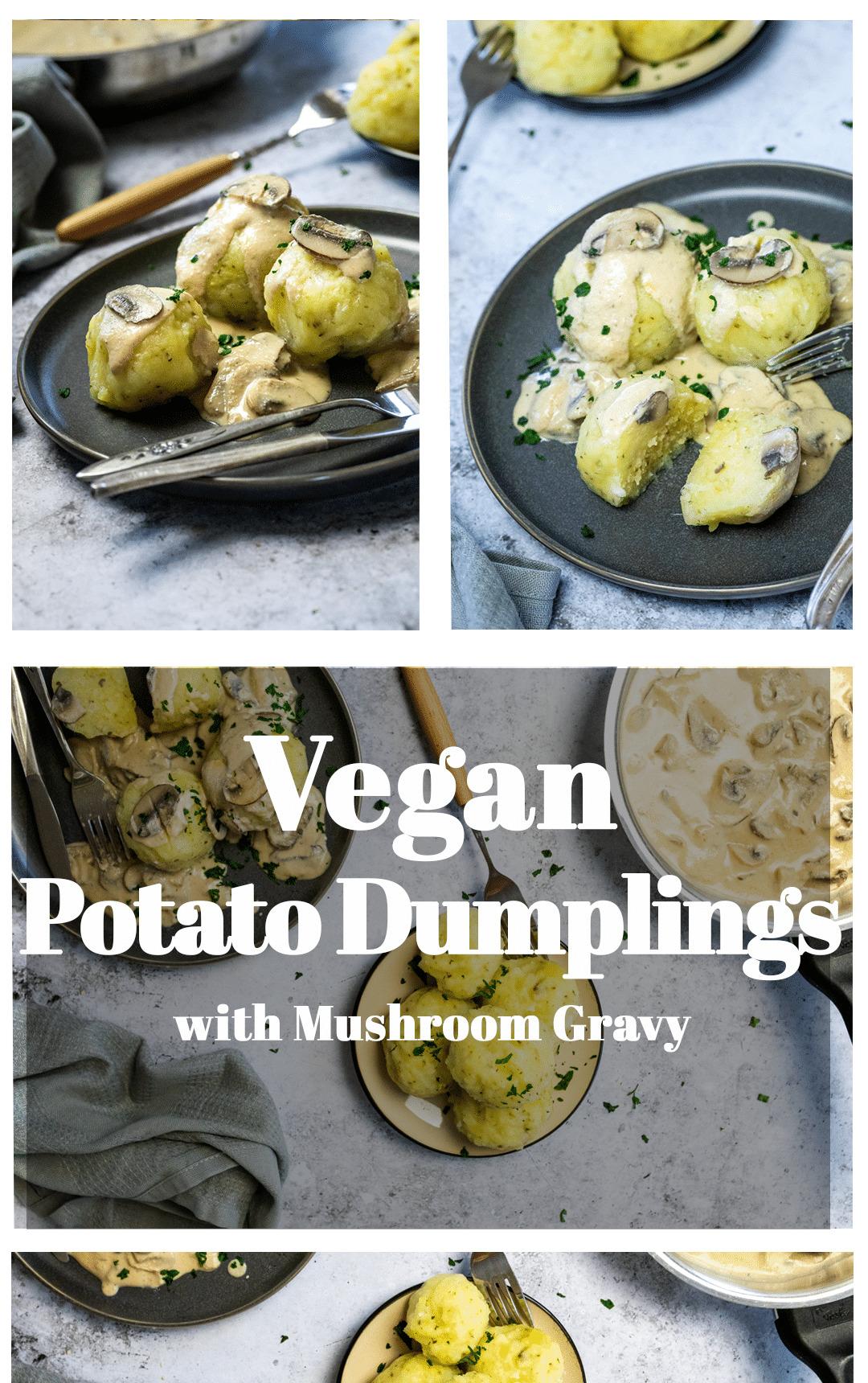 Graphic of vegan potato dumplings with cream mushroom sauce