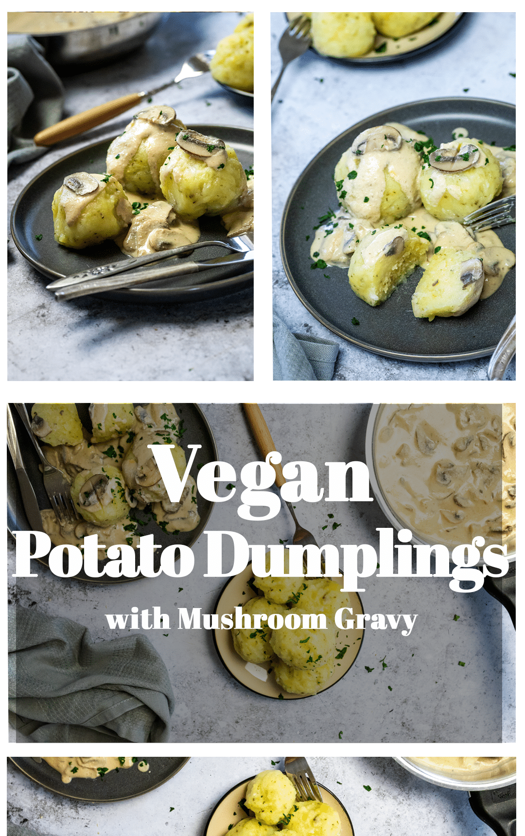 Graphic of vegan potato dumplings with cream mushroom sauce