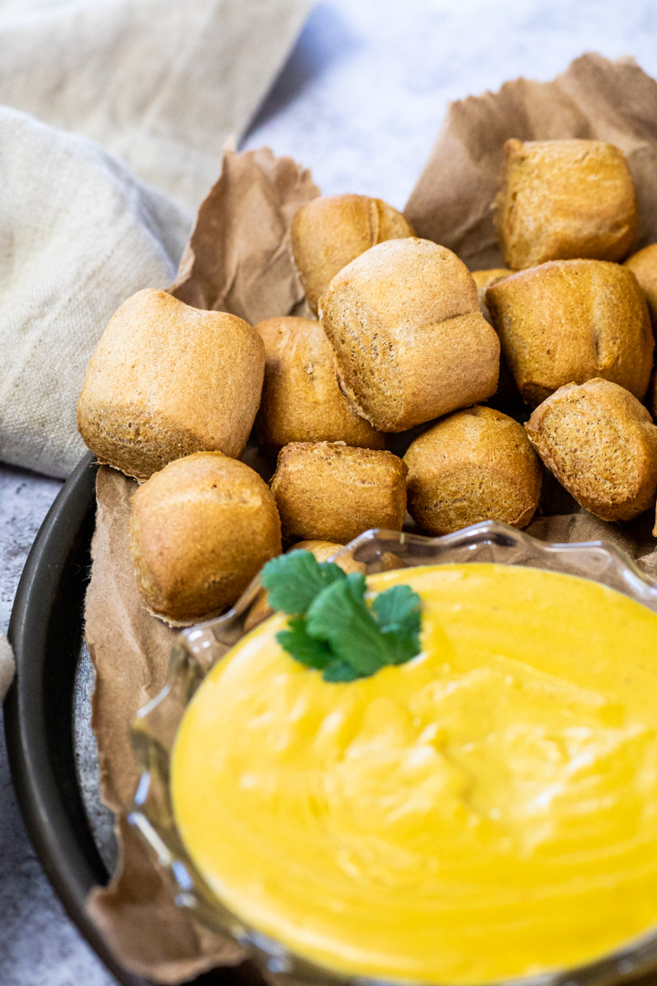 Vegan Whole Wheat Pretzel Bites with Beer Cheese Dip