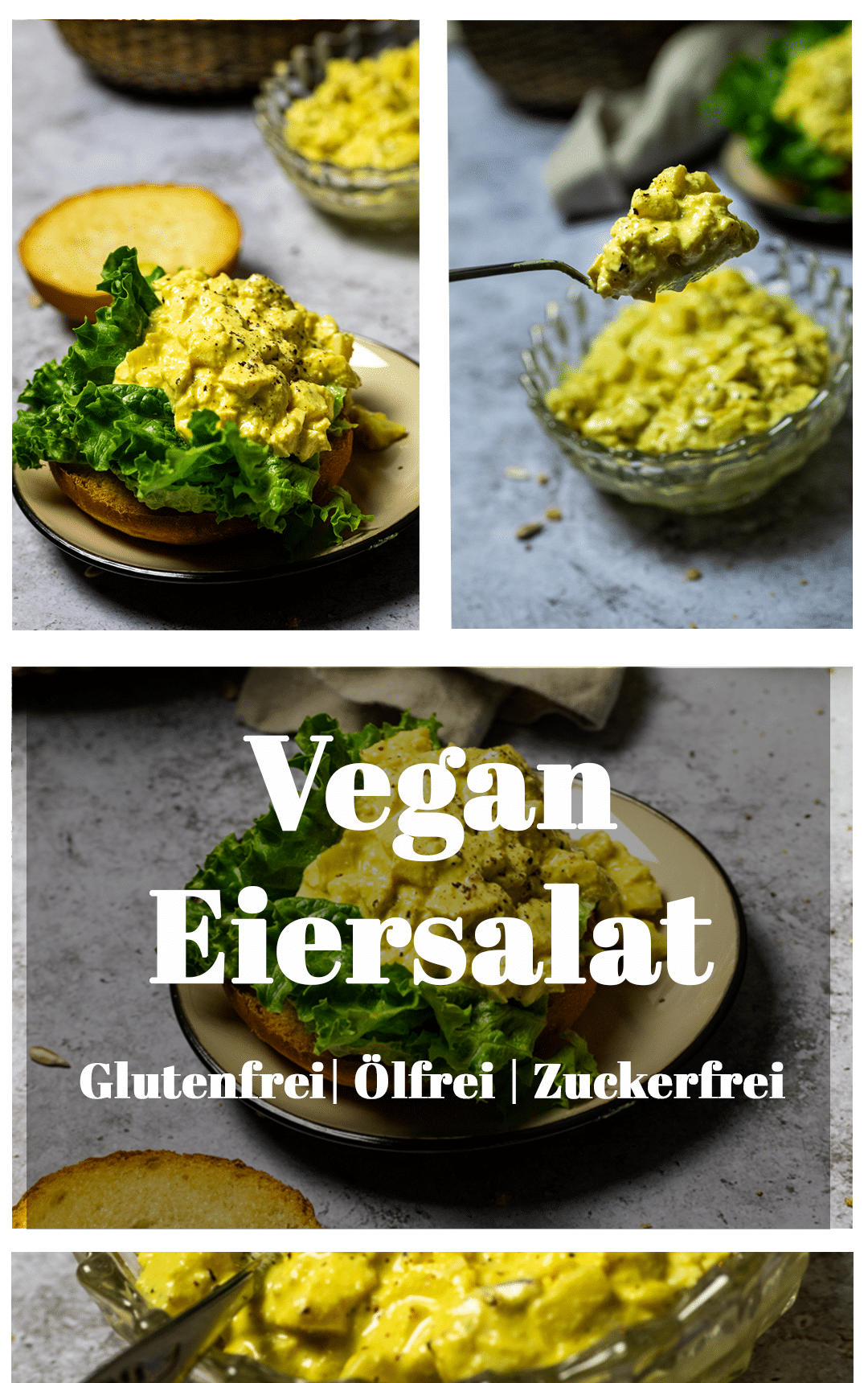 Graphic of vegan egg salad with text layover