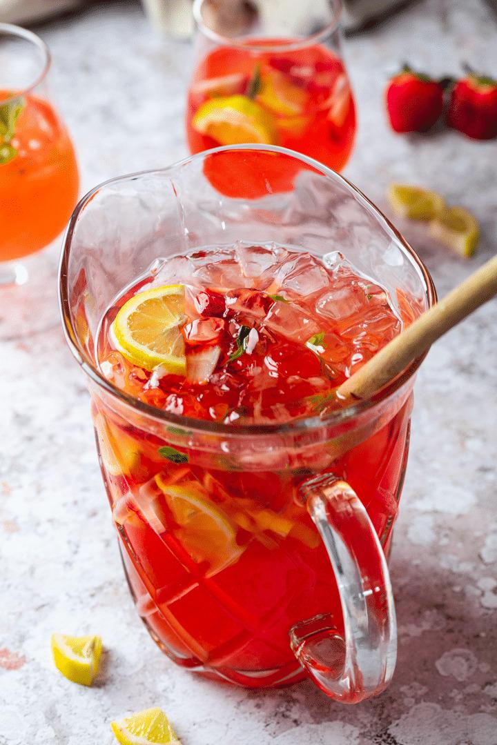 Pitcher full of Strawberry Basil Lemonade