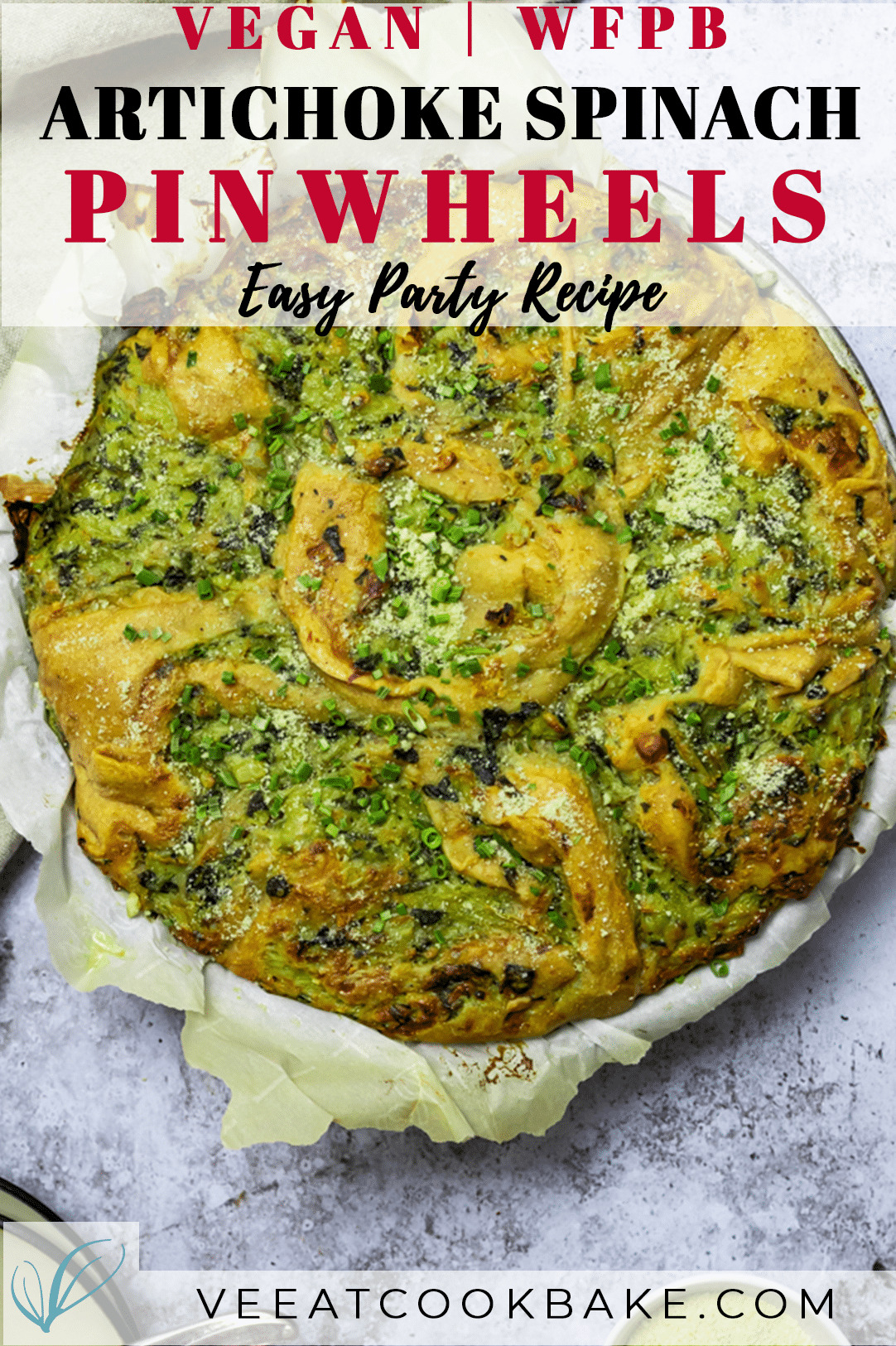 Graphic for vegan artichoke spinach pinwheels with text layover