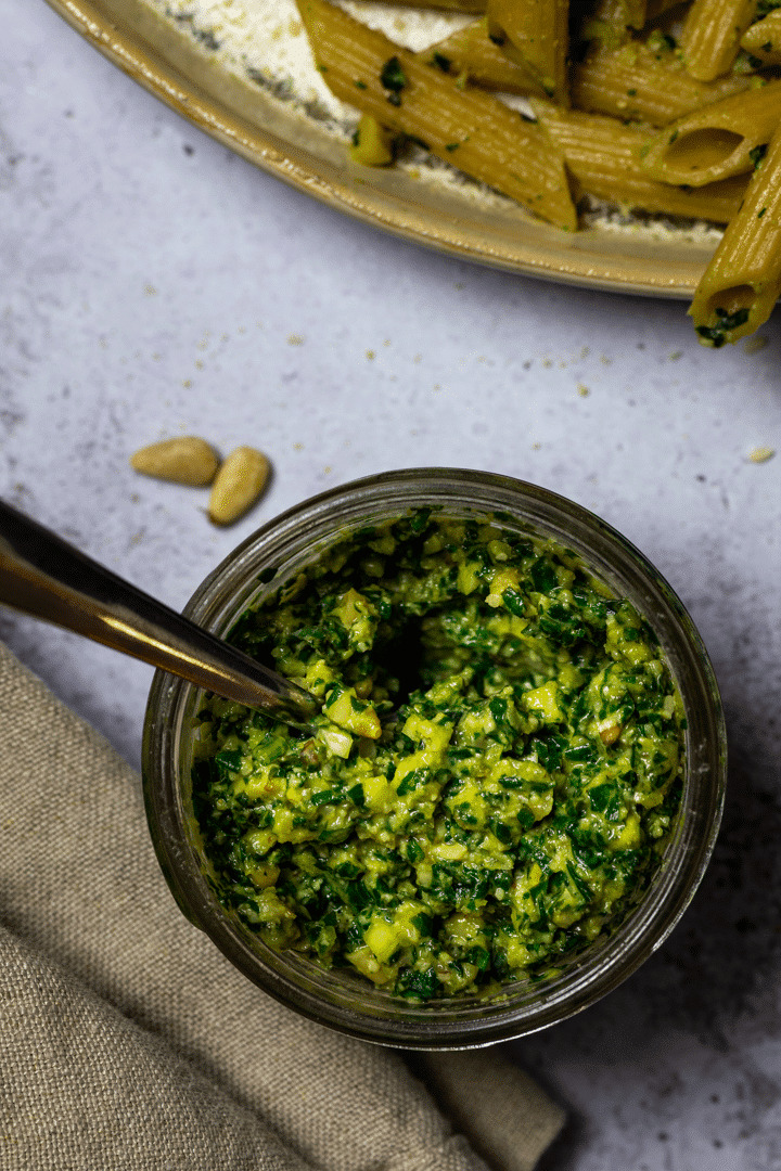 Close up of a jar with vegan oil-free pesto