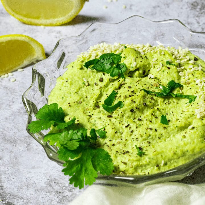 Bowl with oil-free edamame Hummus.