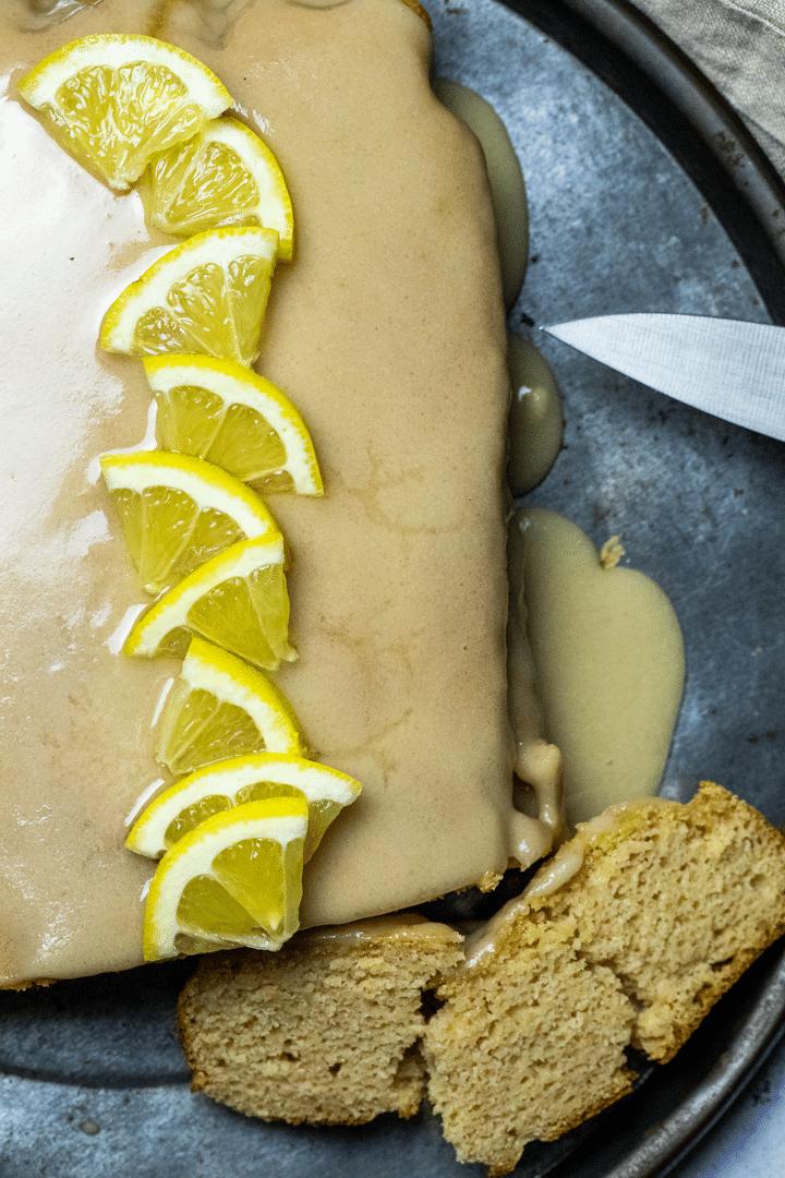 Close up of a vegan lemon loaf