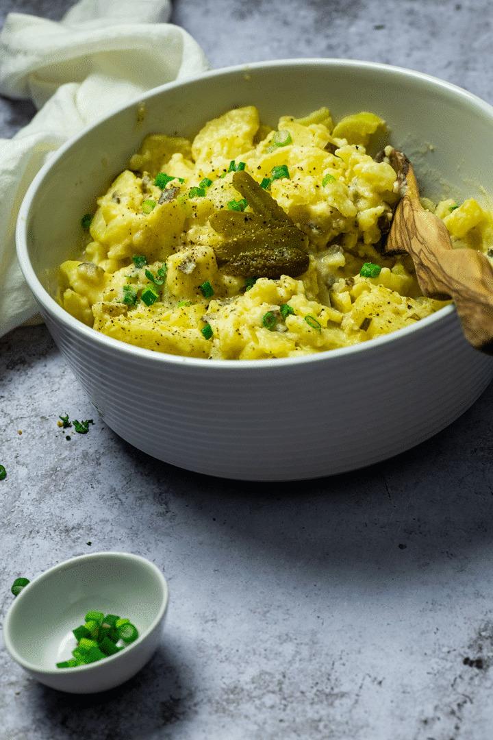 Big bowl with vegan potato salad