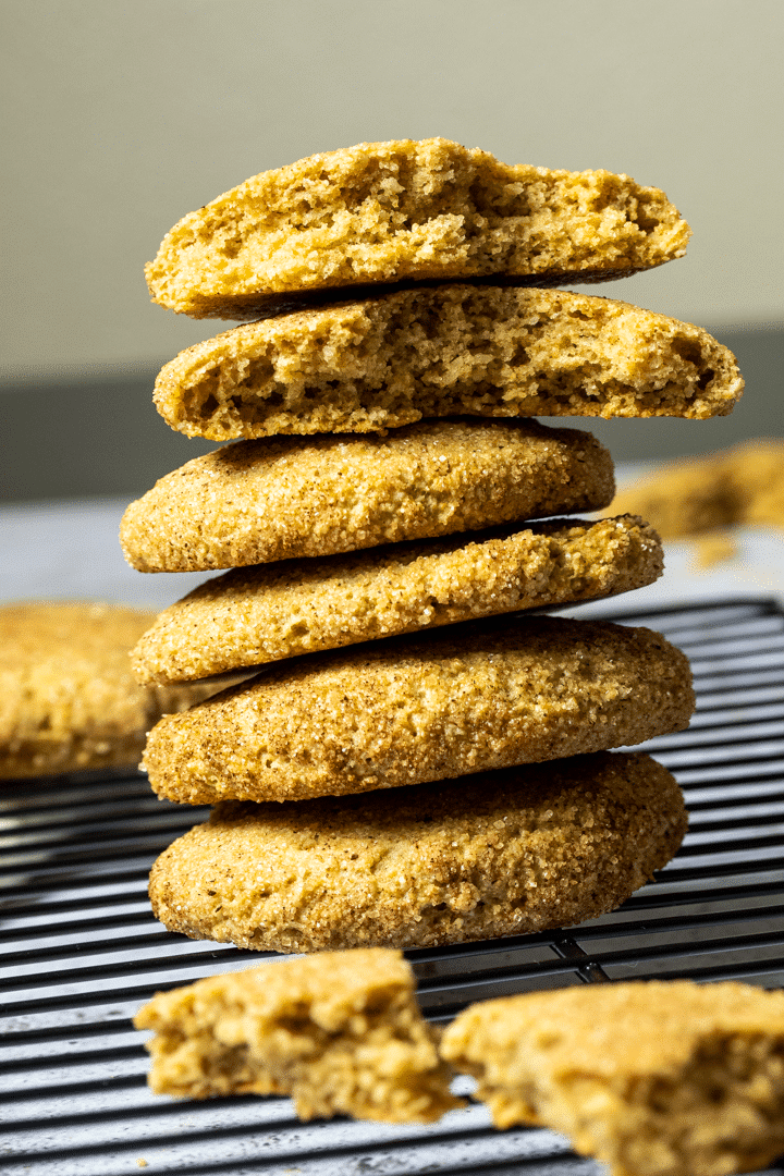 Straight view on a stack of vegan snickerdoodles