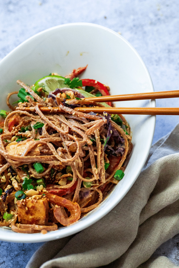 Wfpb vegan Thai Peanut Noodles with asian sticks