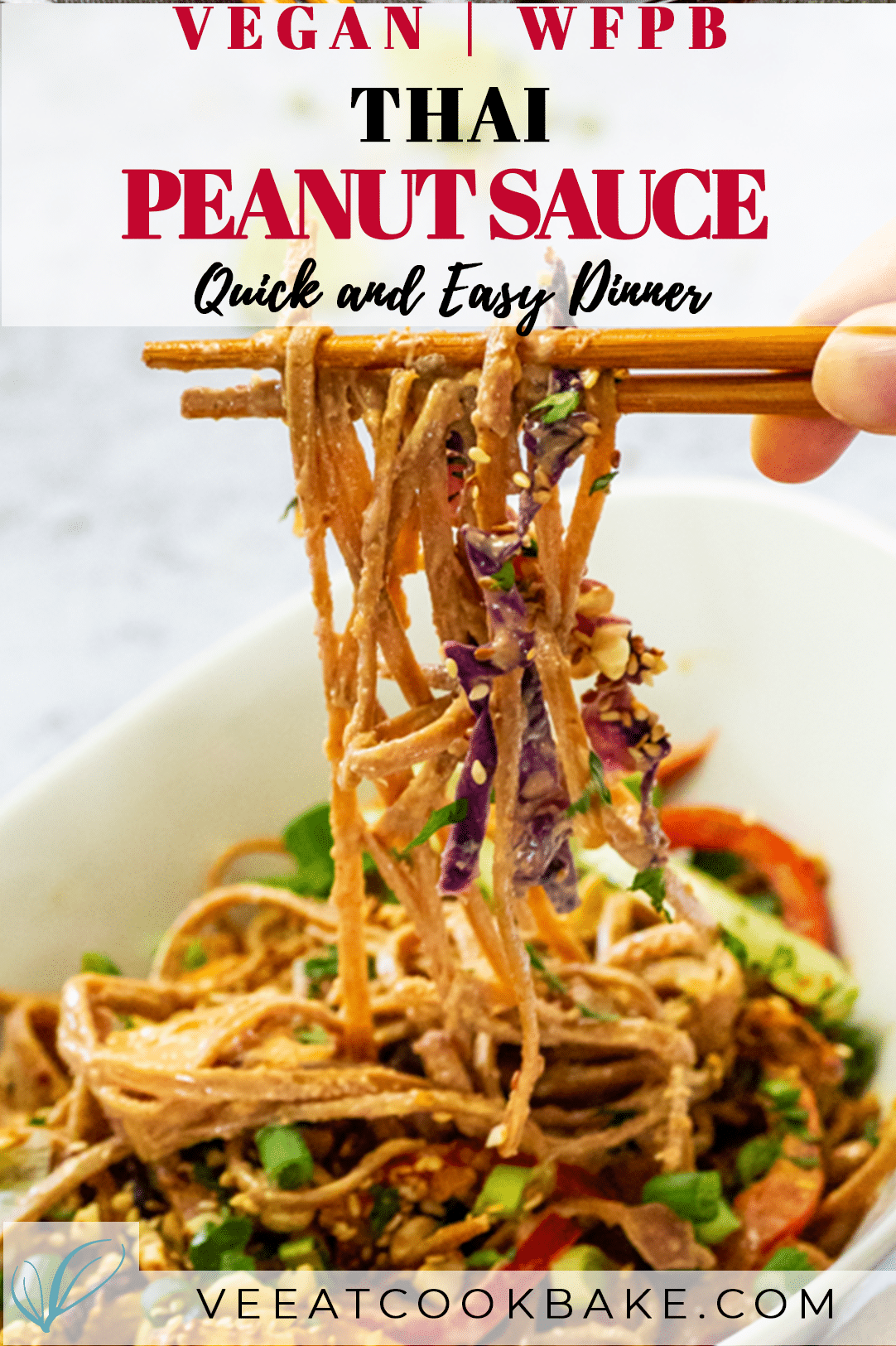 Vegan Thai Peanut Noodles in a bowl with some on asian sticks.