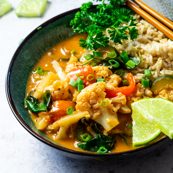 Close up of a vegan thai red curry