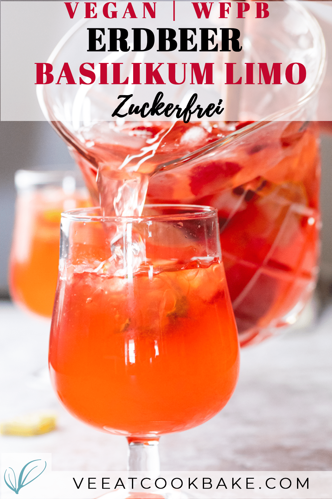 Graphic for vegan strawberry lemonade with text layover