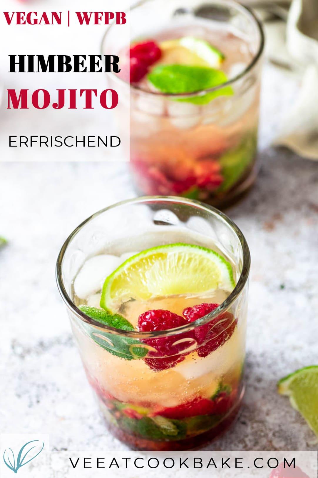 2 Gläser mit Himbeer Mojito und Text