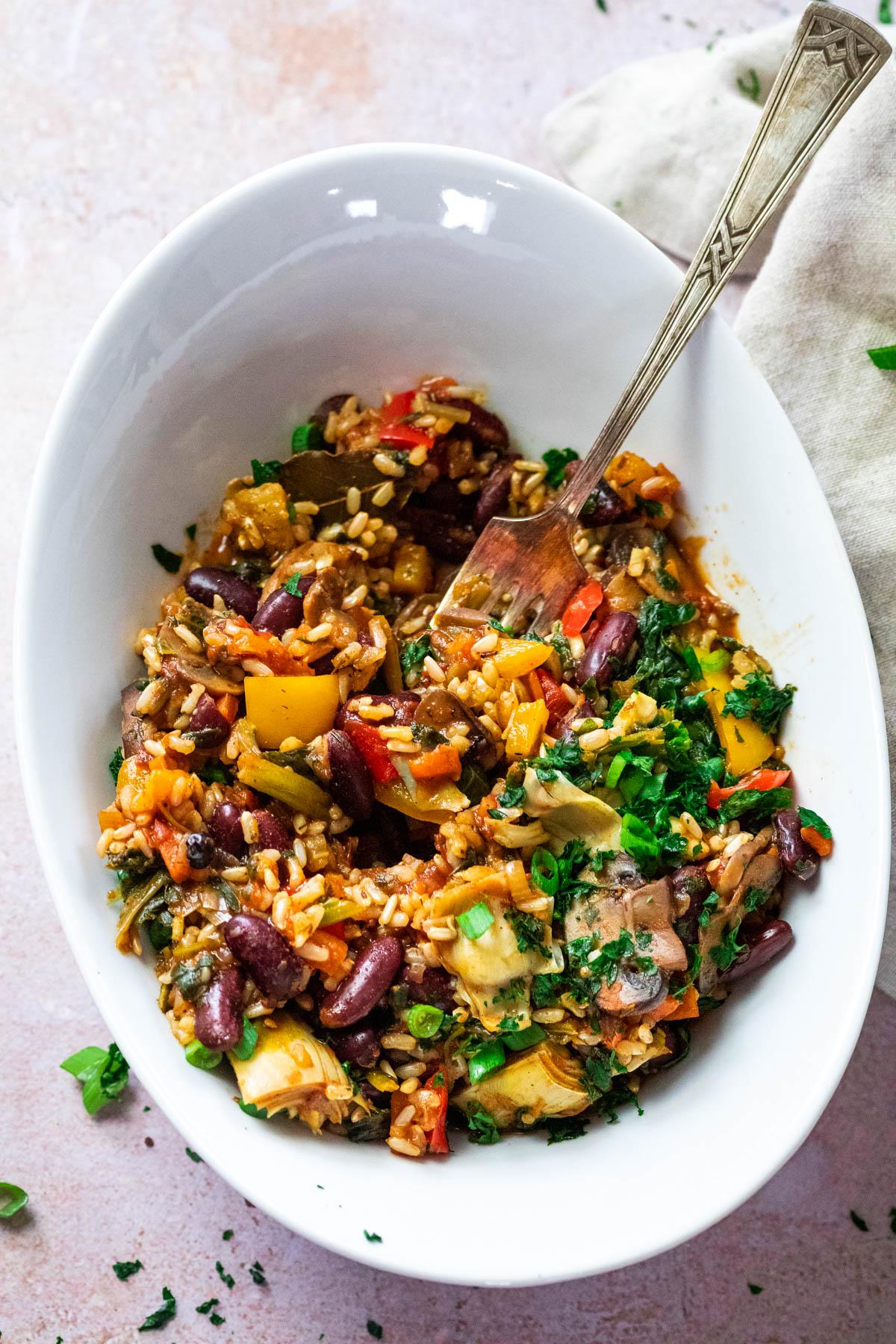 Vegan Veggie Jambalaya served in a bowl