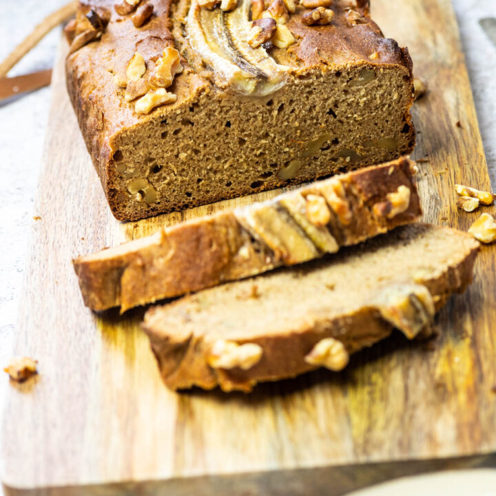 Vegan Whole food plant-based banana bread with the cutted side in focus