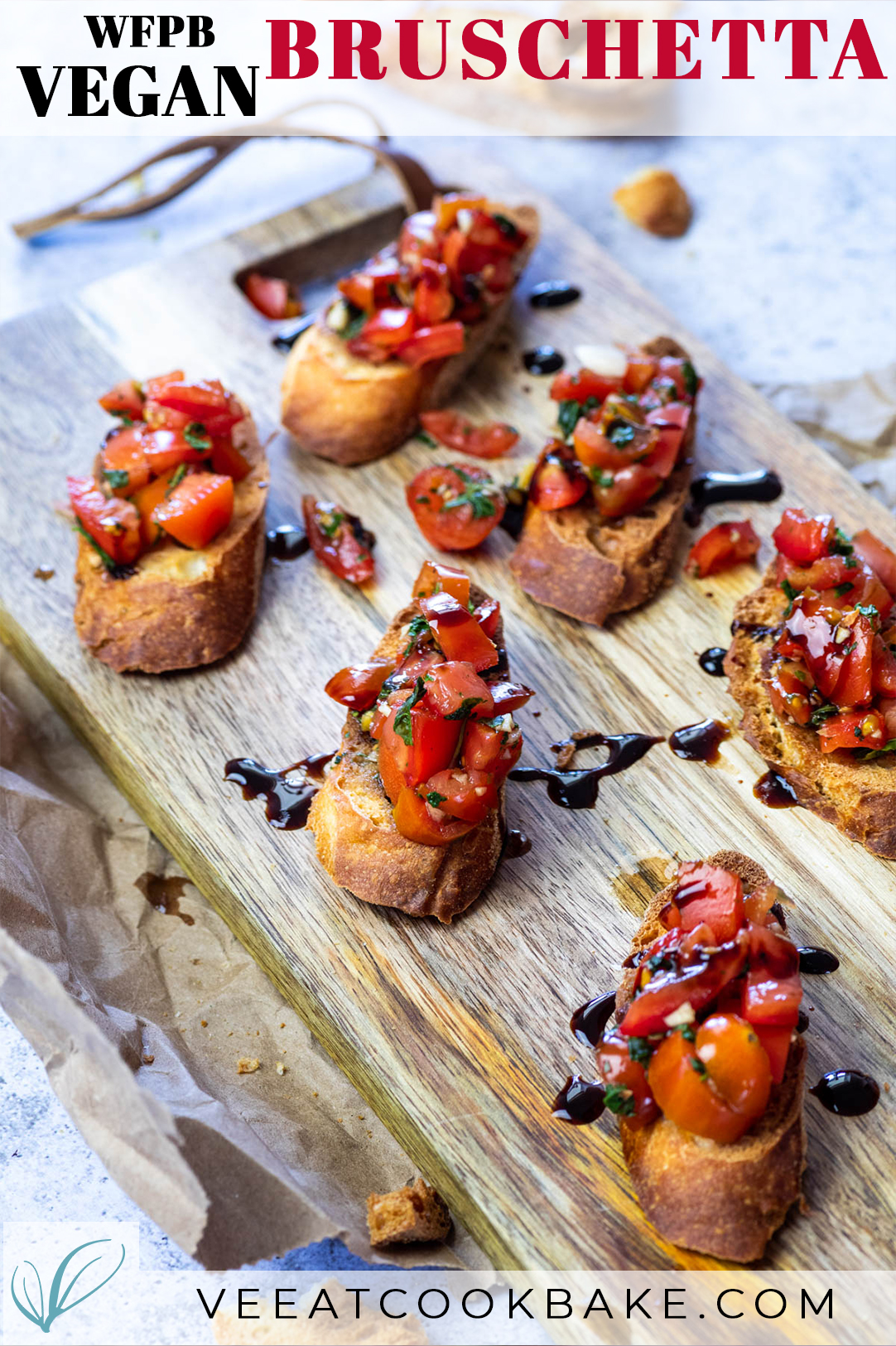 Vegan Bruschetta Crostini served on a board with text