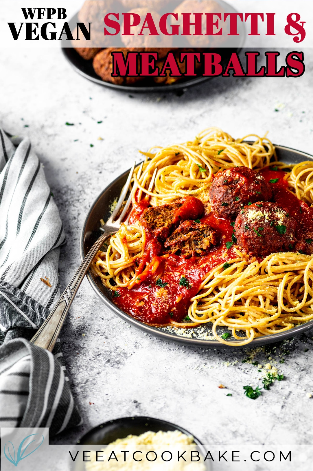 Vegan Meatballs and Spaghettis served on a plate with text layover