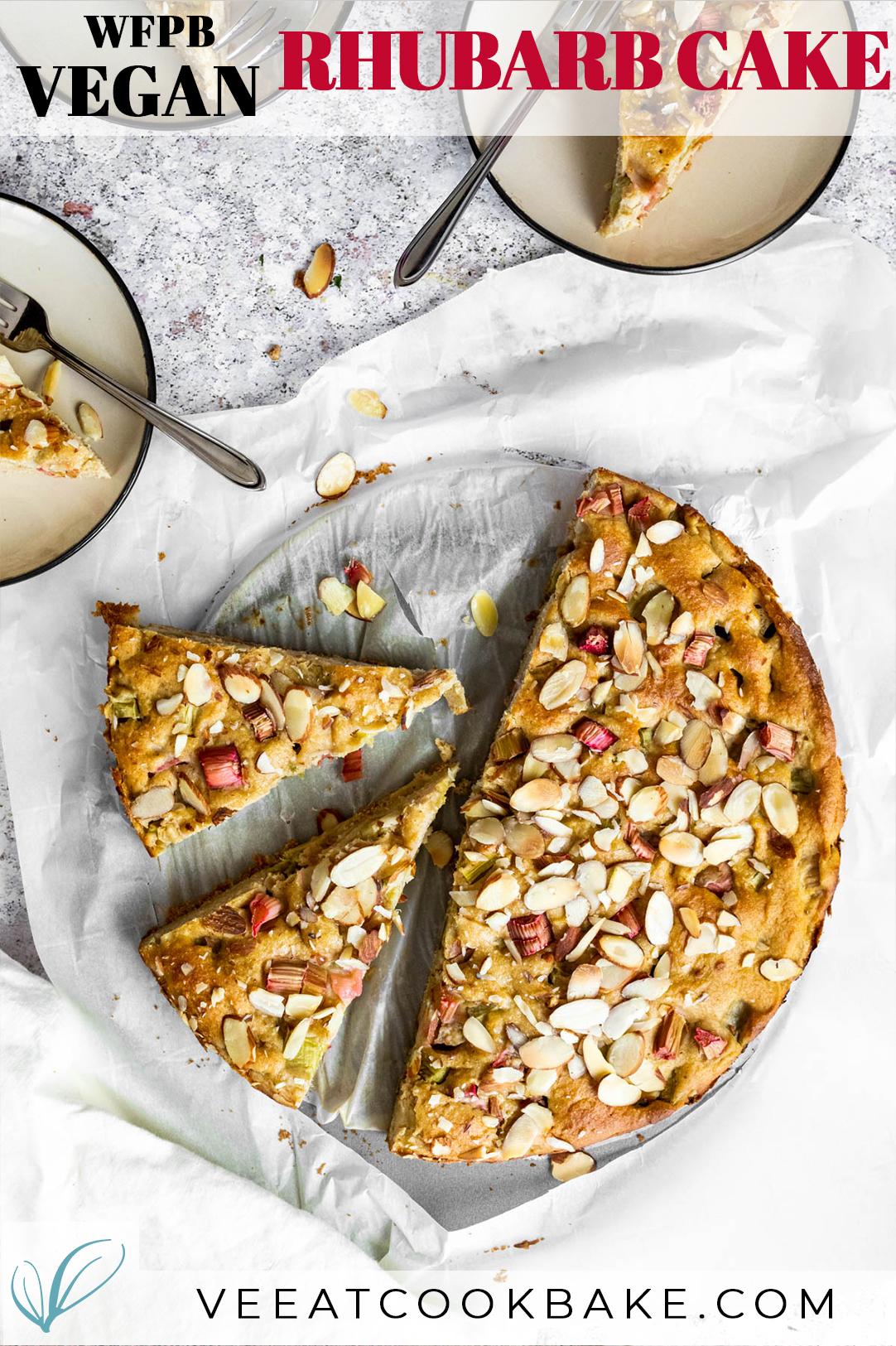 Vegan Rhubarb Cake Photography with text