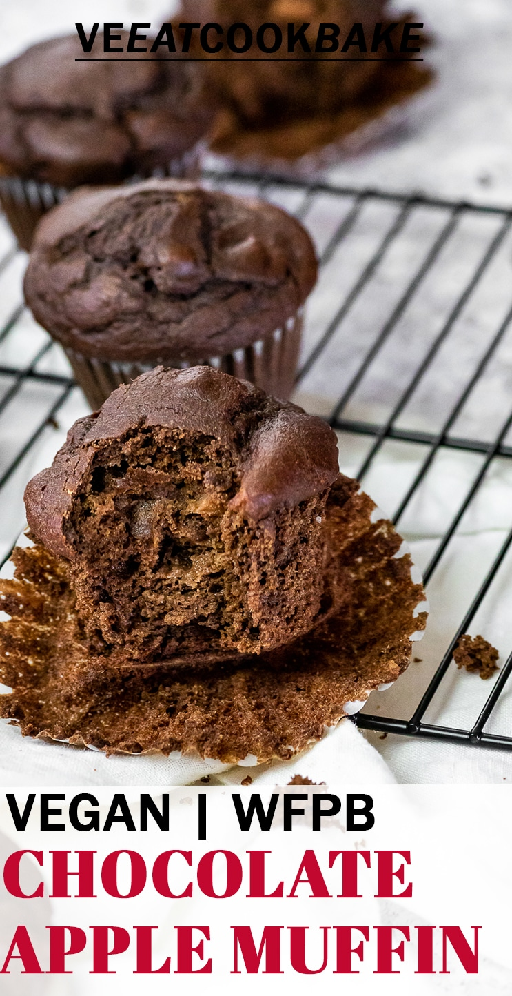 Fluffy vegan apple chocolate muffins on a wire rack with text.
