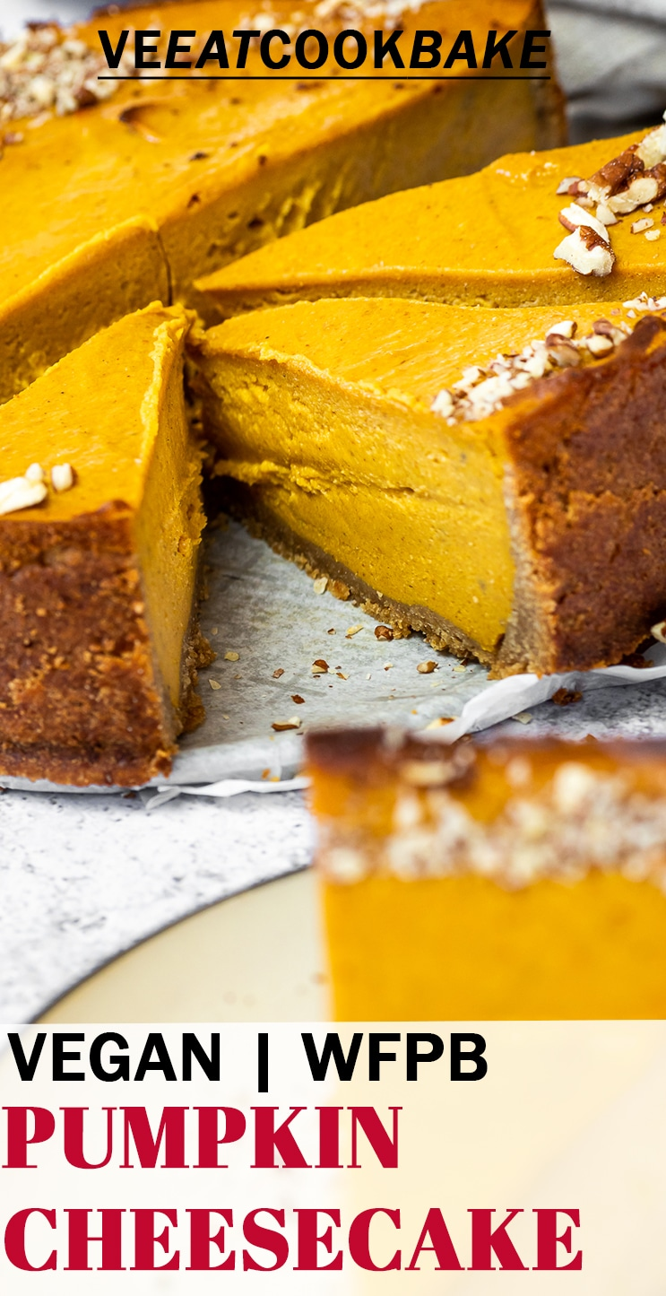 Vegan Pumpkin Cheesecake 3 pieces cut with text