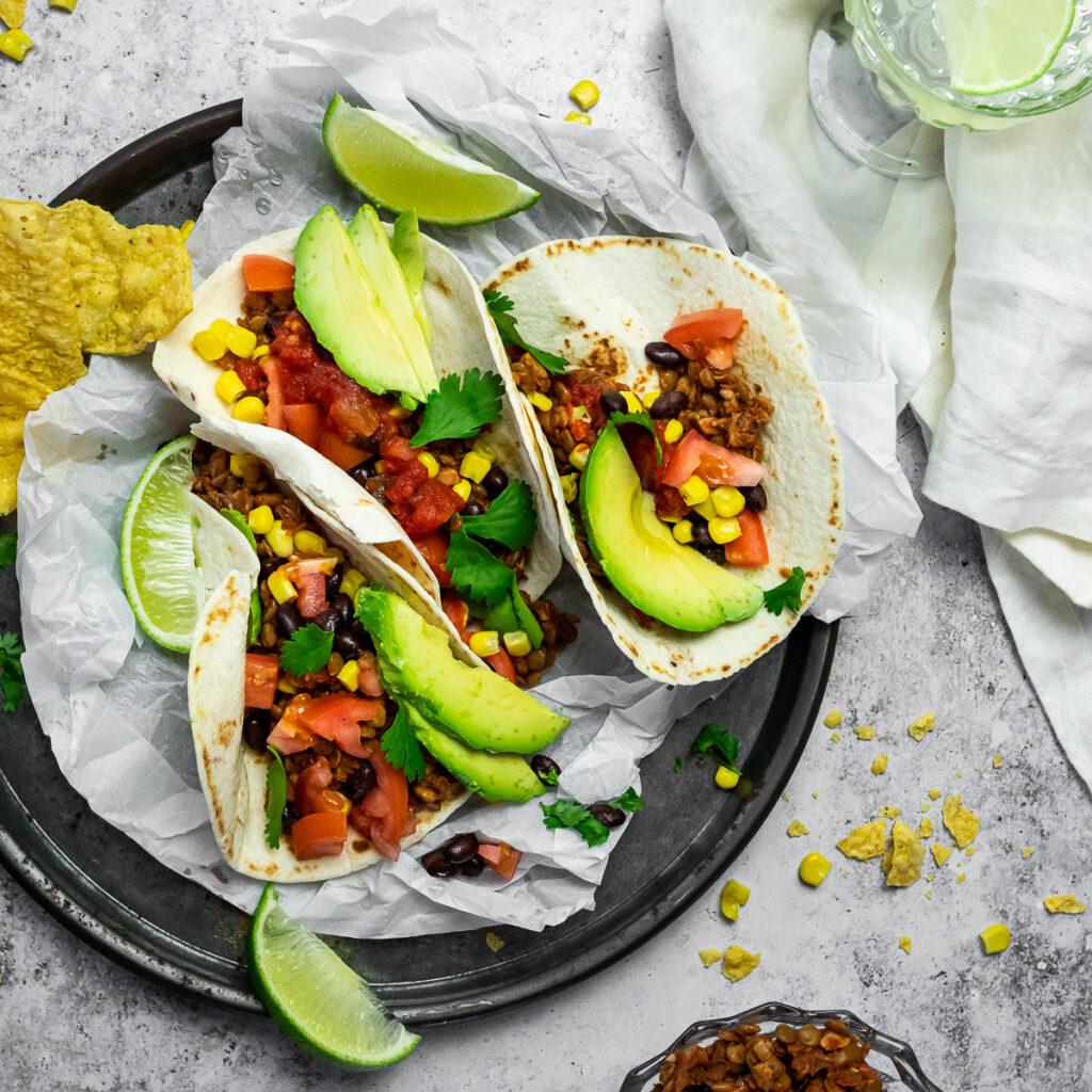 Bird View of a close up of 3 vegan Tacos