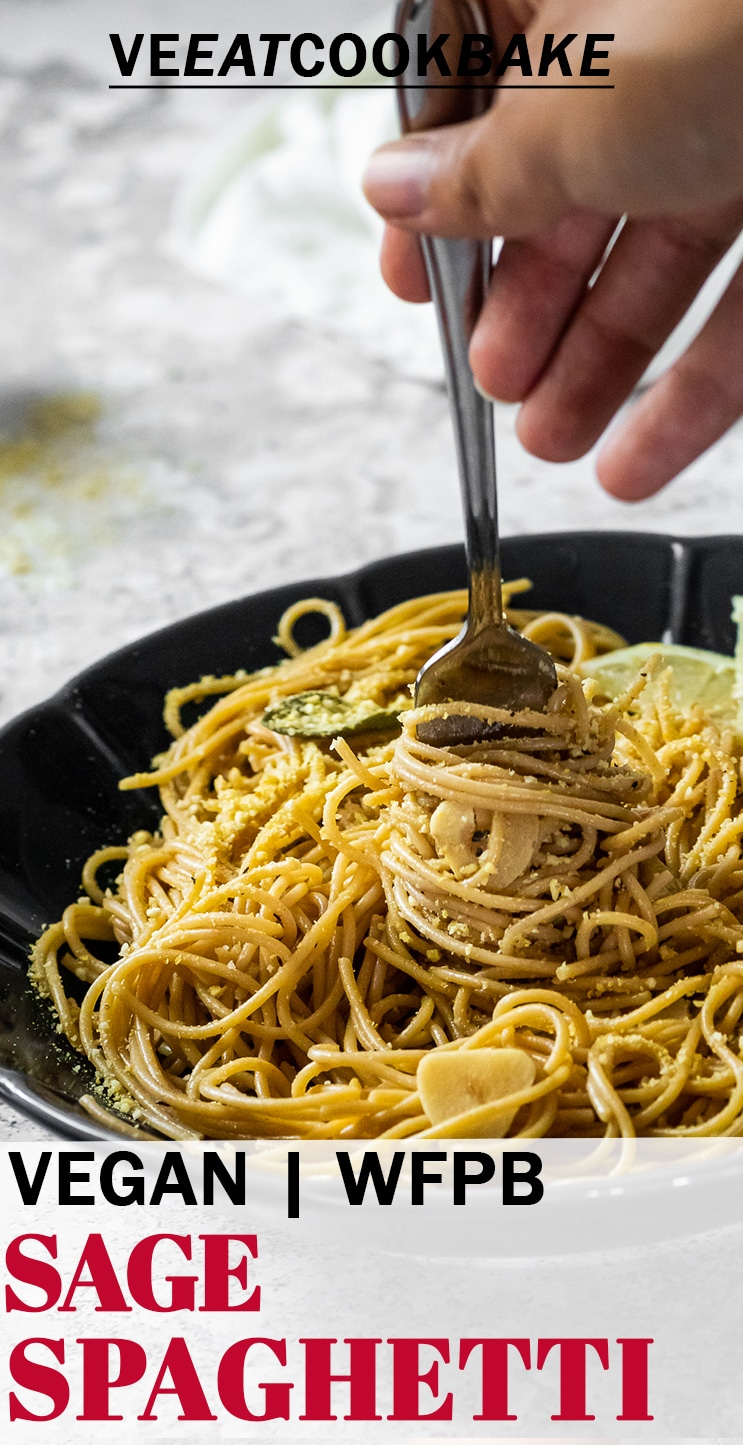 Holding a fork with spaghetti in sage sauce with text