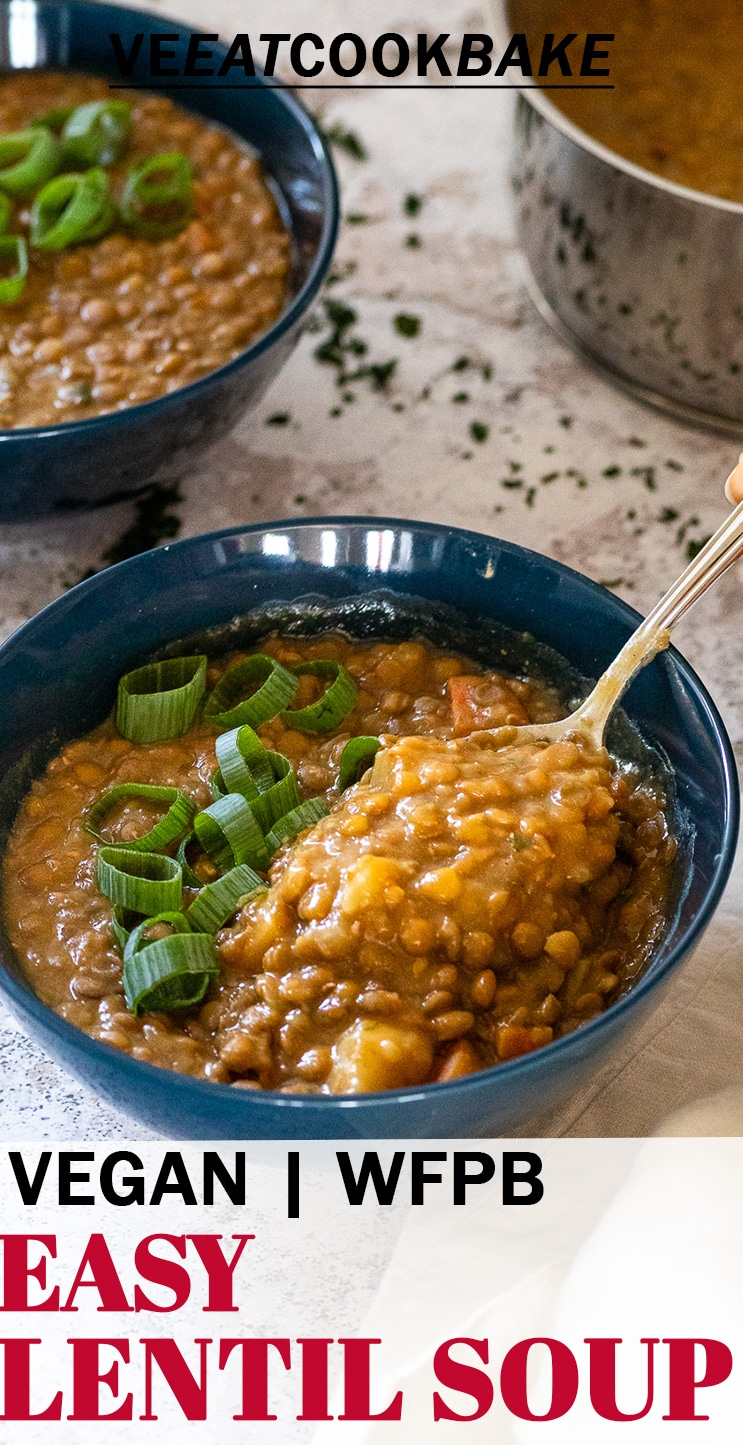Lentil soup with a spoon and a bowl with text