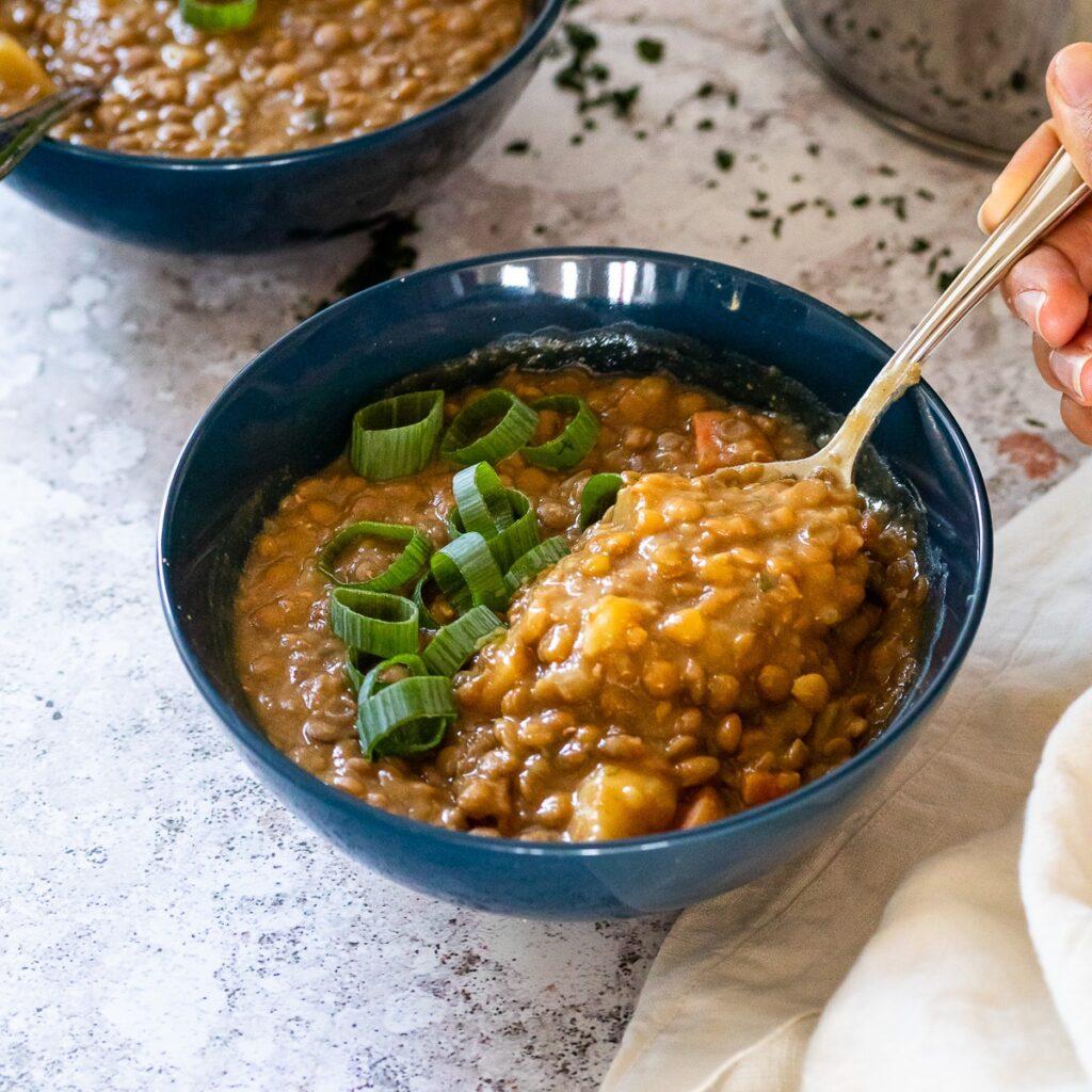 Close up of a bowl with lentil soup