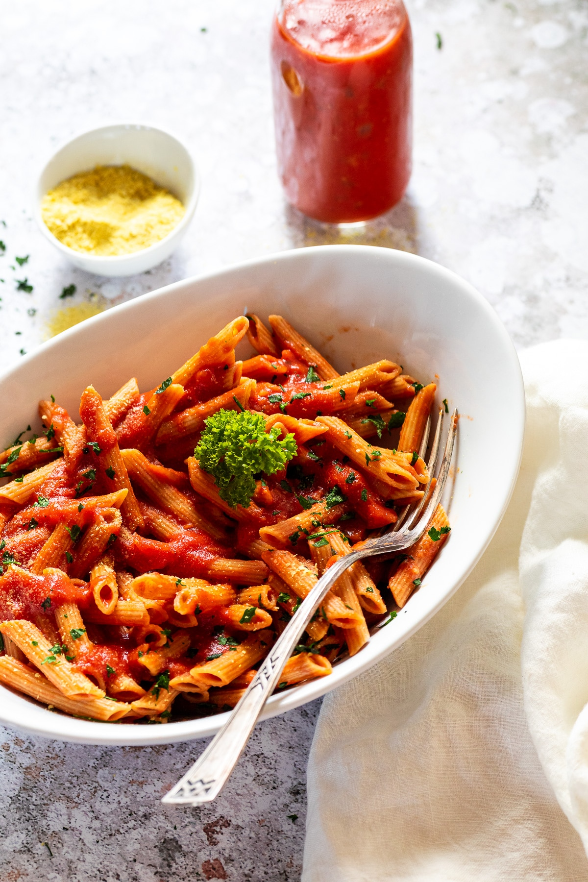 close up of a bowl with penne alla vodka